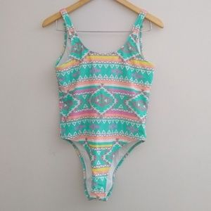Chubbies The Oasis One Piece Swimsuit Aztec Print